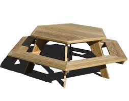 Free Hexagon Picnic Table Plans by Treated Pine Hexagon Picnic Table