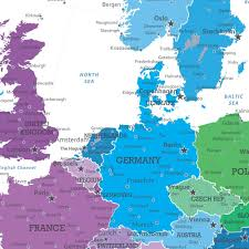 English Channel Map Colorful Europe Travel Map Push Pin Travel Maps