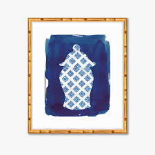 navy chinoiserie vase watercolor print home decor