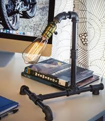 retro steampunk home decor desk table lamp iron waterpiping w
