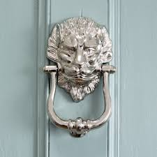 large nickel lion door knocker