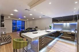 kitchen island led lighting retro modern kitchen design with sectional green chair and led light