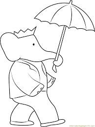 babar umbrella coloring free babar coloring pages
