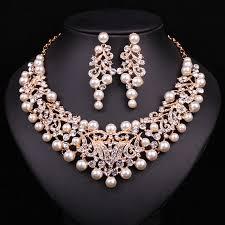 gold jewelry sets for weddings moda collar llamativo de la perla pendientes chapado en oro de