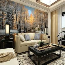 chambre foret beibehang d hiver paysage bouleau forêt rivière neige 3d chambre