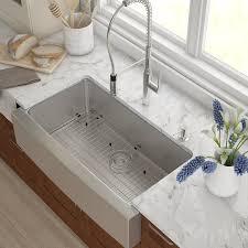 Kraus Stainless Steel  X  Farmhouse Kitchen Sink With - Farmhouse kitchen sink