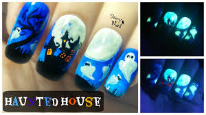 halloween haunted house glow in the dark freehand nail art