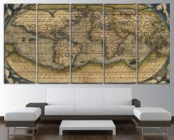 Wall Art World Map by Old World Map Wall Art Multi Panel Set Vintage Large World Map