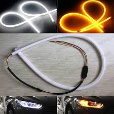 led daylight strip light 60cm dual color flexible led daytime running light car switchback