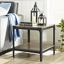 Wood And Metal End Table Amazon Com We Furniture Angle Iron Wood End Tables In Driftwood