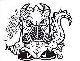 graffiti skull with gas mask drawing graffiti art