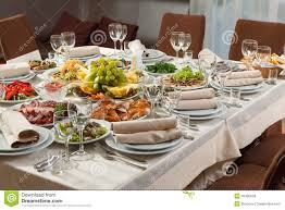 food tables at wedding reception table set for event party or wedding reception celebration stock