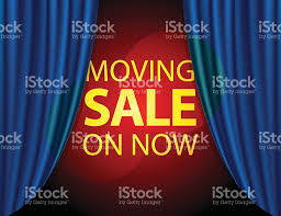 moving sale on now info on stage with blue curtain stock vector