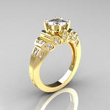 gold diamond engagement rings classic 14k yellow gold 1 23 ct cubic zirconia diamond