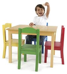 Childs Wooden Desk Tot Tutors Kids U0027 Table And 4 Chair Set Primary Wood Amazon In