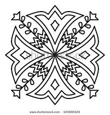 simple flower mandala pattern coloring book stock vector 520800529