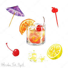 watercolor cocktail watercolor food clipart old fashioned u2014 stock photo