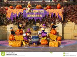 Halloween Decorations At Home Halloween Decoration At A Theme Park Editorial Photo Image 30449341