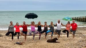 beach yoga eastbourne yoga with eva