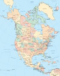 Physical Map Of North America by Of North America