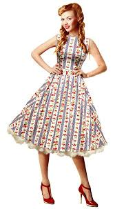 buy 1950 u0026 39 s 50s strawberries and gingham stripe swing dress