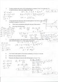 kinematic and linear equation practice answers