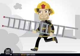 cartoon fireman rescue ladder vector free download
