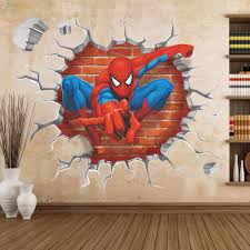 cartoon spiderman 3d through wall stickers for kids nursery rooms