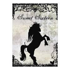 silhouette horse birthday u2013 sweet 16 invitations