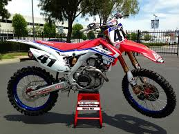 factory motocross bikes factory honda red white and blue for red bud national perthmx