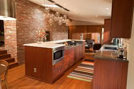 midcentury modern kitchen dark wood brick wall huge kitchen