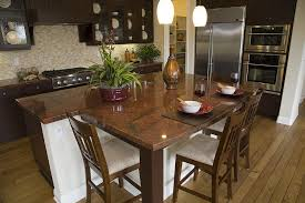 kitchen island with attached dining table transitional kitchen remodeling riverside with kitchen island