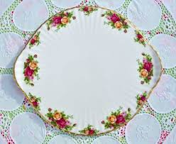 royal albert country roses large gateau cake plate