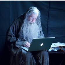 gandalf checks his emails behind the scenes in the set of the