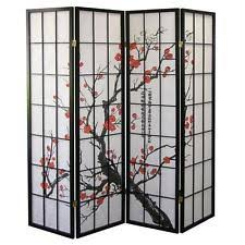 screen room divider 4 panel folding shoji japanese privacy wall