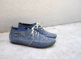 womens desert boots size 9 vintage 80s desert sky blue suede hush puppies moccasins ankle
