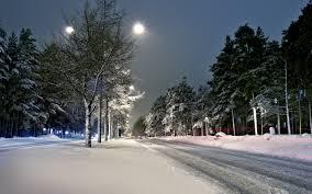 street lights winter snow scenery hd wallpapers 4k