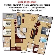28 bay lake tower two bedroom villa floor plan bay lake