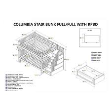 Stair Post Height by Atlantic Furniture Columbia Staircase Full Over Full Bunk Bed