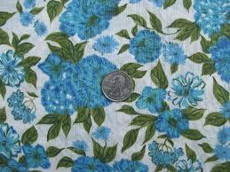Large Floral Print Curtains 1950s Vintage Large Blue Floral Print Cotton Fabric