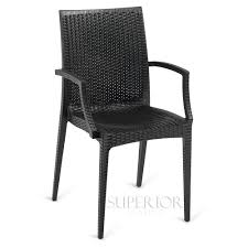 wicker look outdoor stackable plastic chair with arms in black