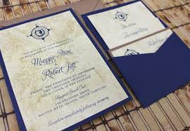 map and lucky seahorse vintage wedding invitation pocket card