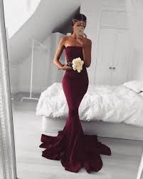 wedding dress maroon strapless maroon mermaid evening prom dresses simple party