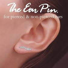 ear pins diamond cut ear pin earrings in white gold