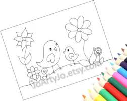 printable coloring page pdf instant download cute birds