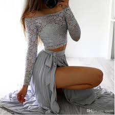 2017 2017 summer dresses for womens two piece set long sleeve lace