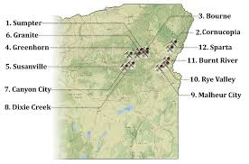 map of oregon 2 12 eastern oregon gold mining towns maps locations
