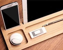 Wooden Desk Organizers Wood Tower Desk Organizer Tech Gift Wood Organizer Phone