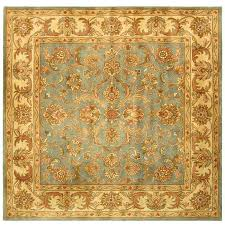 Square Wool Rug Safavieh Handmade Heritage Timeless Traditional Blue Beige Wool