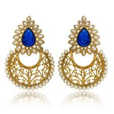 dangler earrings buy traditional ethnic blue dew dangler earrings with